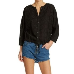 NWT Free People Black Stars Align Button Blouse